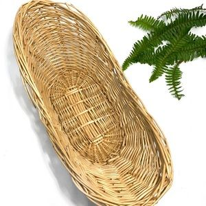 vintage long wicker gathering basket catch all